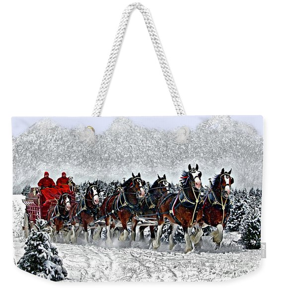 Clydesdales Hitch In Snow Weekender Tote Bag