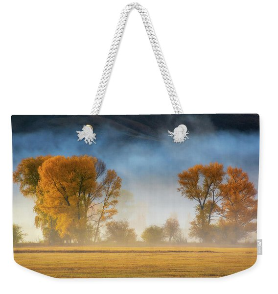 Weekender Tote Bag featuring the photograph Colorado Autumn Fog by John De Bord