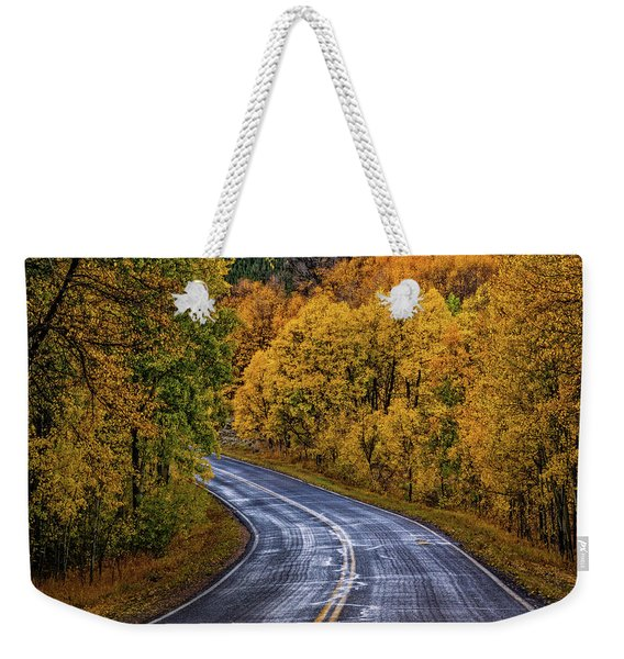 Weekender Tote Bag featuring the photograph Colorado Fall Country Road by John De Bord