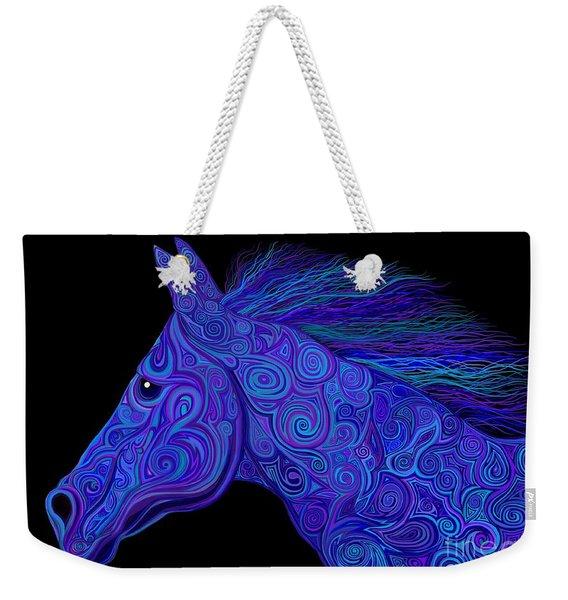 Colorful Blue Stallion Weekender Tote Bag