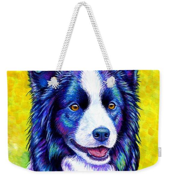 Colorful Border Collie Dog Weekender Tote Bag