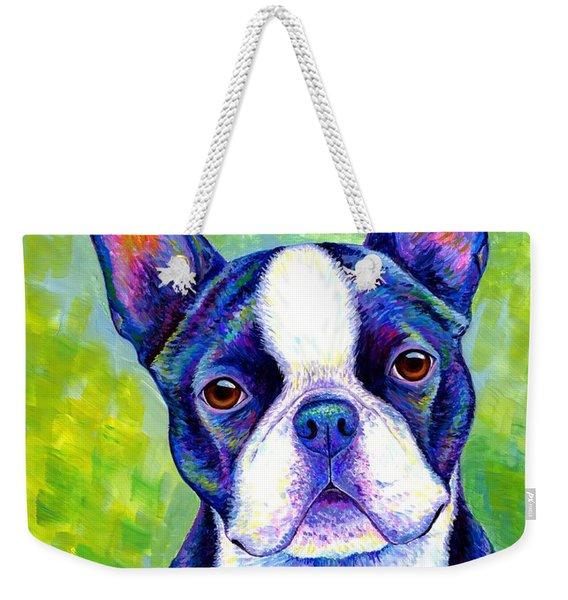 Colorful Boston Terrier Dog Weekender Tote Bag