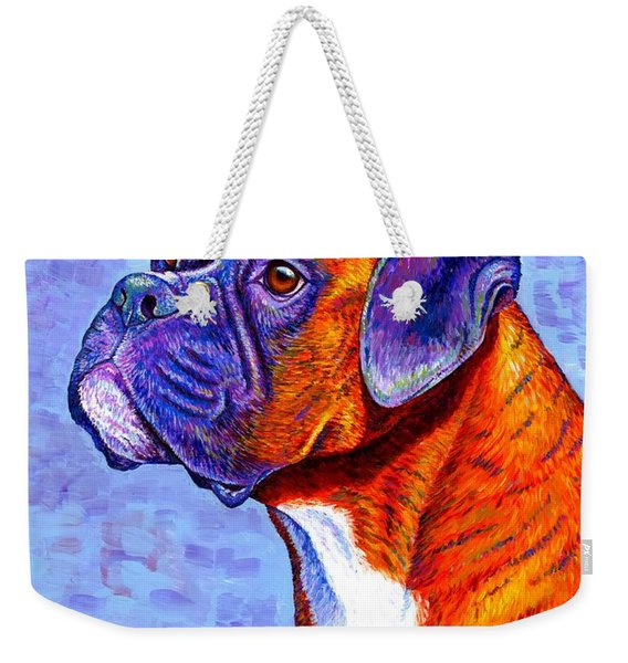 Colorful Brindle Boxer Dog Weekender Tote Bag