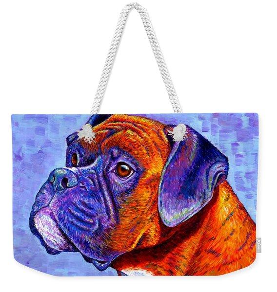 Colorful Brindle Boxer Dog Weekender Tote Bag