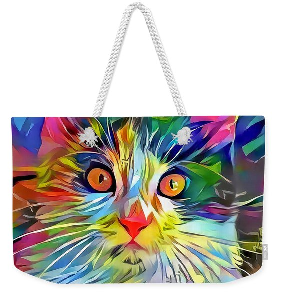 Weekender Tote Bag featuring the digital art Colorful Calico Cat by Don Northup