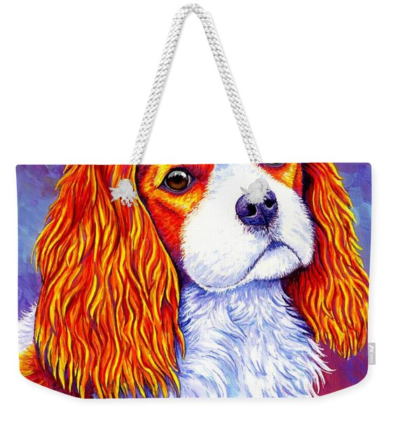 Colorful Cavalier King Charles Spaniel Dog Weekender Tote Bag