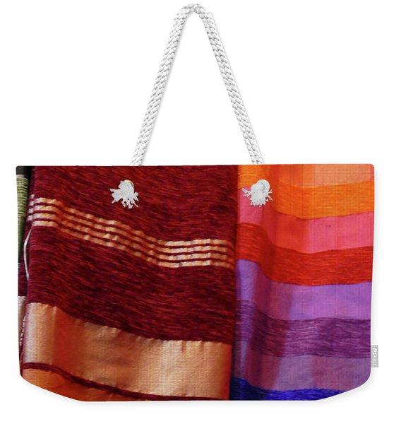 Colorful Fabrics In The Medina Market  Weekender Tote Bag