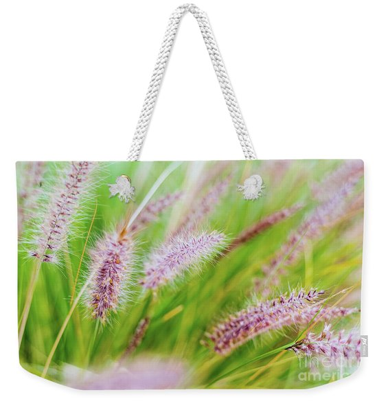 Colorful Flowers In Purple Spikes, Purple Fountain Grass, Close- Weekender Tote Bag