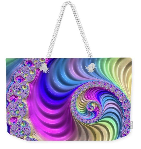 Colorful Fractal Spiral With Stripes Weekender Tote Bag