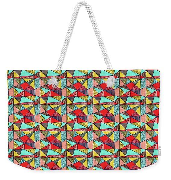 Colorful Geometric Abstract Pattern Weekender Tote Bag