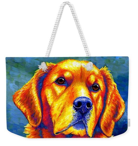 Colorful Golden Retriever Dog Weekender Tote Bag