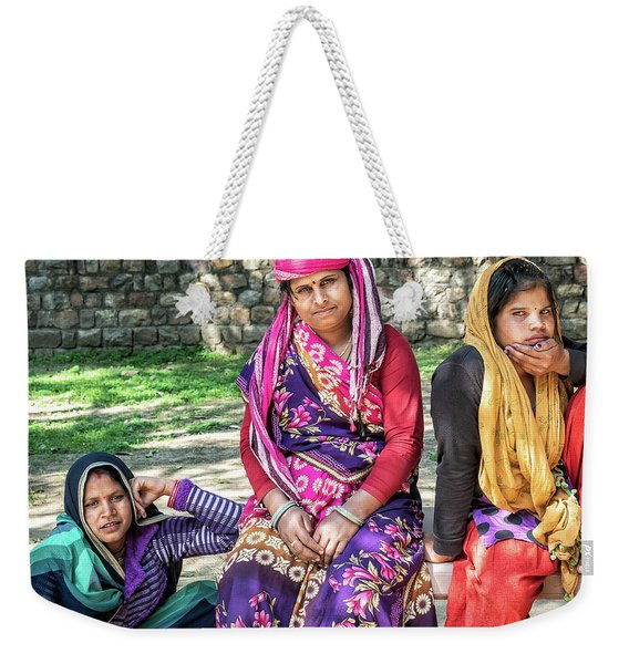 Weekender Tote Bag featuring the photograph Colorful Ladies by Robin Zygelman