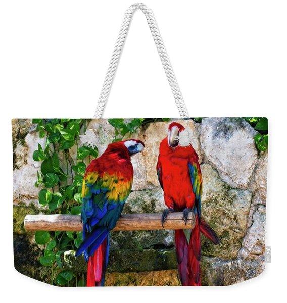 Colorful Parrots Weekender Tote Bag