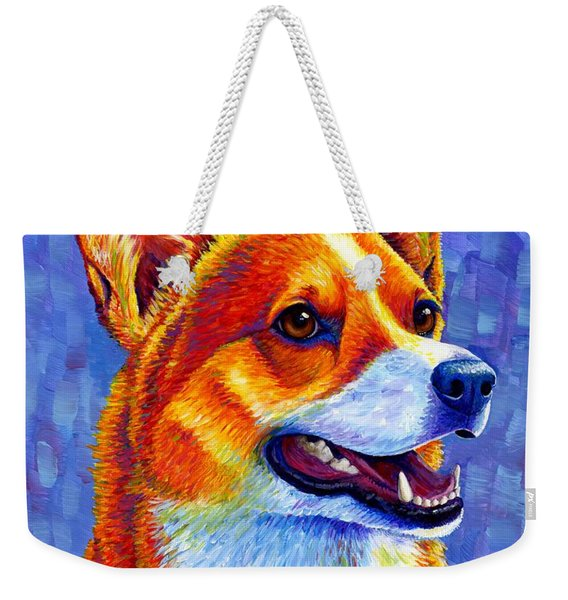 Colorful Pembroke Welsh Corgi Dog Weekender Tote Bag