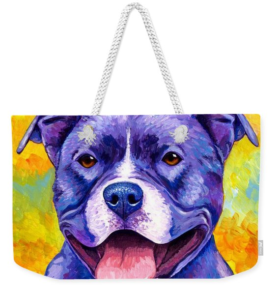 Colorful Pitbull Terrier Dog Weekender Tote Bag