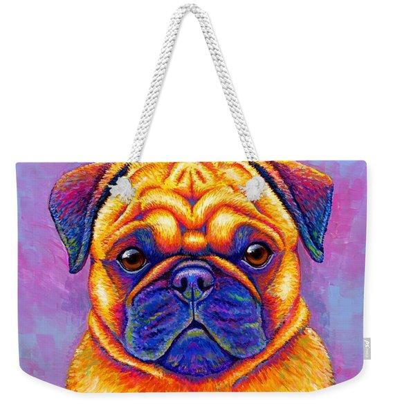 Colorful Rainbow Pug Dog Portrait Weekender Tote Bag