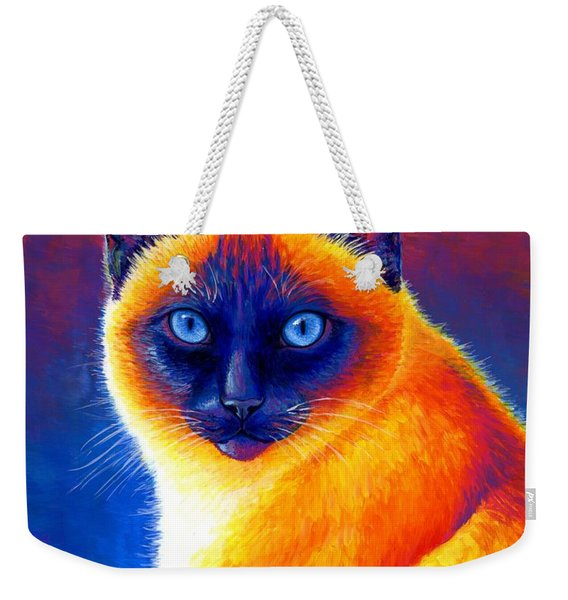 Jewel Of The Orient - Colorful Siamese Cat Weekender Tote Bag