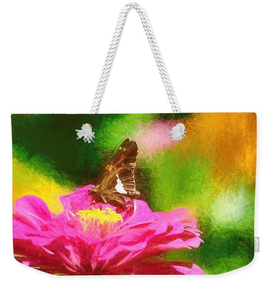 Weekender Tote Bag featuring the photograph Colorful Silver Spotted Skipper Butterfly by Don Northup