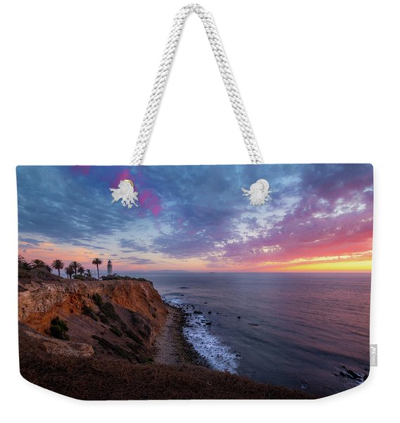 Colorful Sky After Sunset At Point Vicente Lighthouse Weekender Tote Bag