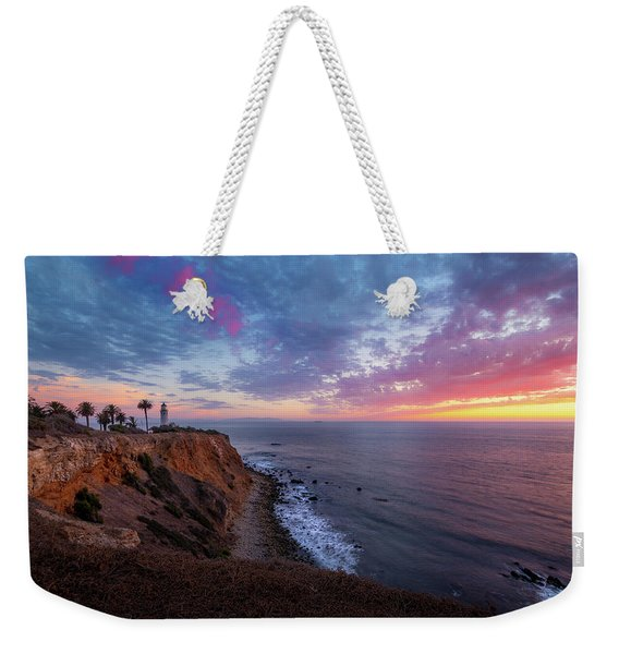 Weekender Tote Bag featuring the photograph Colorful Sky After Sunset At Point Vicente Lighthouse by Andy Konieczny