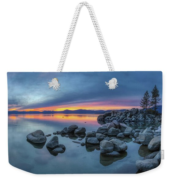 Weekender Tote Bag featuring the photograph Colorful Sunset At Sand Harbor Panorama by Andy Konieczny