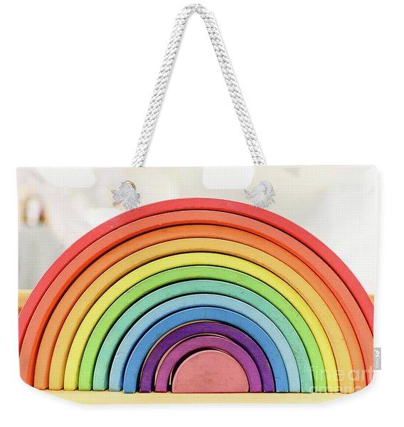 Colorful Waldorf Wooden Rainbow In A Montessori Teaching Pedagogy Classroom. Weekender Tote Bag