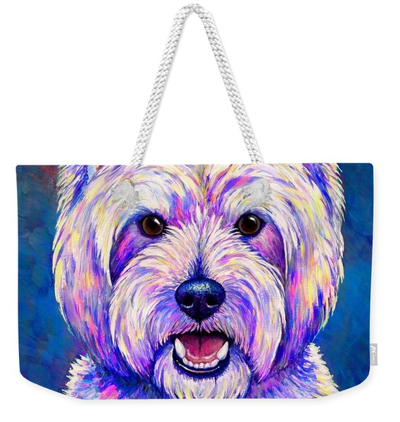 Colorful West Highland White Terrier Blue Background Weekender Tote Bag