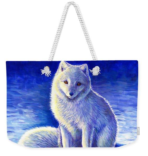 Colorful Winter Arctic Fox Weekender Tote Bag