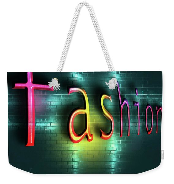 Colorful Word Fashion On Blue Reflecting Metallic Background. Weekender Tote Bag