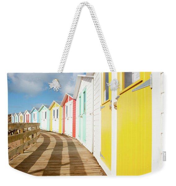 Colourful Bude Beach Huts Weekender Tote Bag