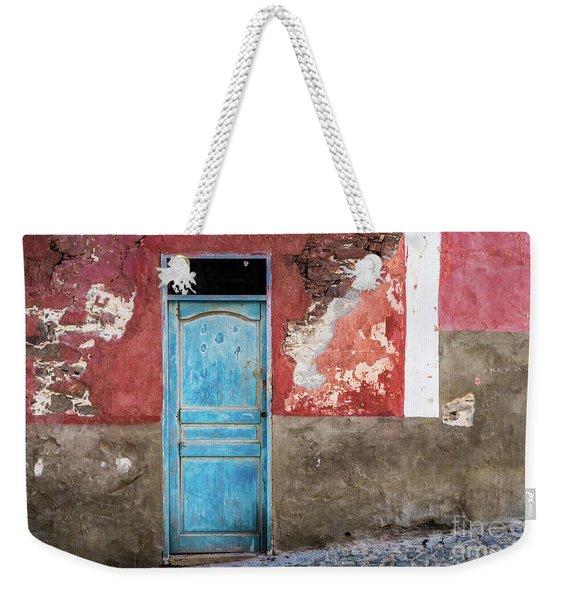 Colorful Wall With Blue Door Weekender Tote Bag