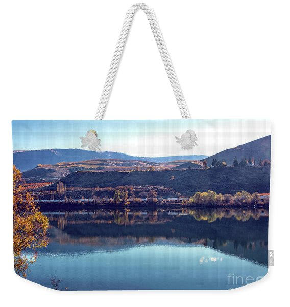 Weekender Tote Bag featuring the photograph Train Reflection by Mae Wertz