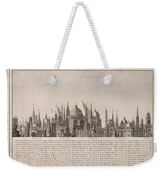 Comparative Chart Of The Heights Of Important Monuments - Historical Illustrated Chart - Vintage Weekender Tote Bag