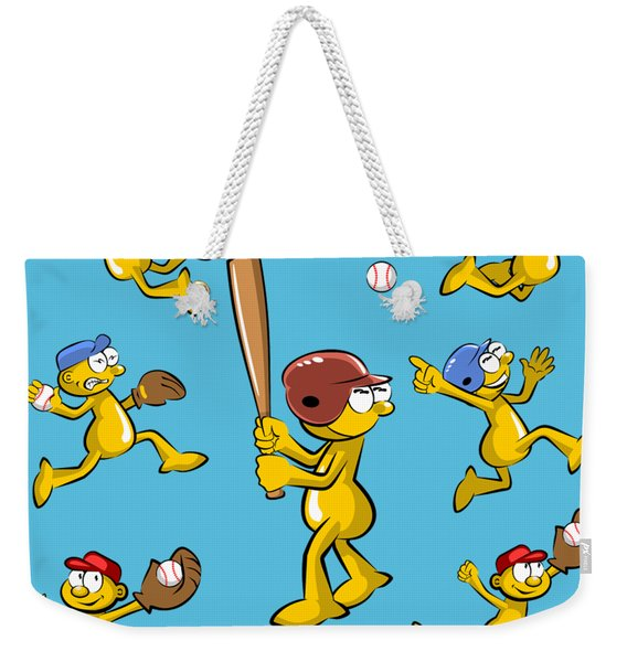 Composition Of Baseball Images In Cartoon Style Weekender Tote Bag