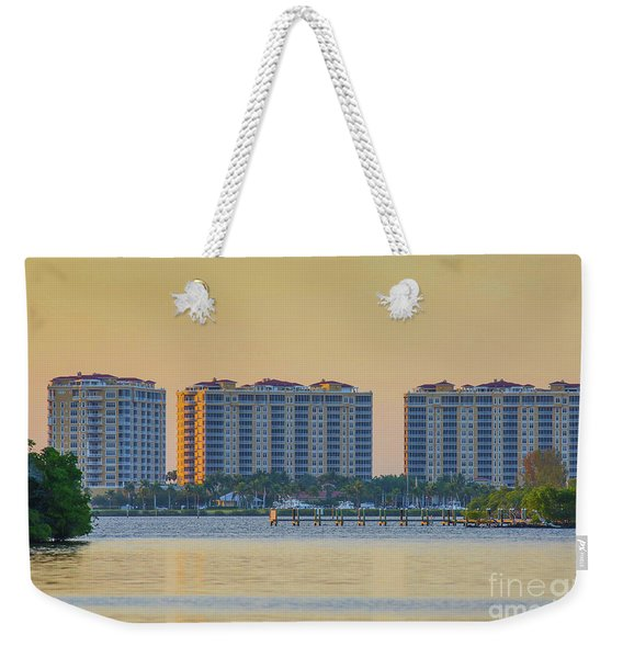 Condominium Buildings In Southwest Florida At Sunset Weekender Tote Bag