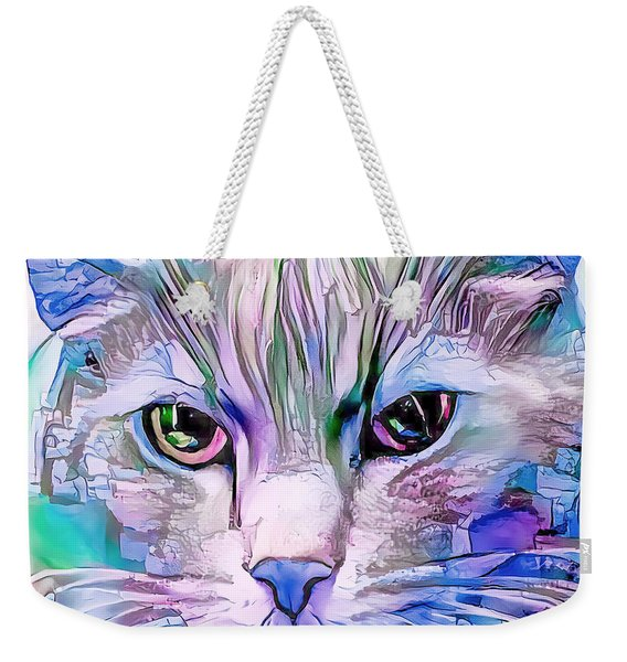 Cool Blue Cat Weekender Tote Bag