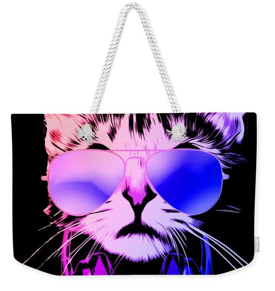Cool Dj Cat In Neon Lights Weekender Tote Bag
