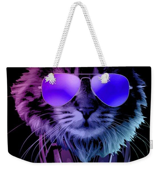 Cool Dj Furry Cat In Neon Lights Weekender Tote Bag
