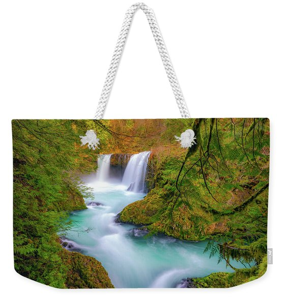 Cool Mountain Water Flows Outward To The Sea Weekender Tote Bag