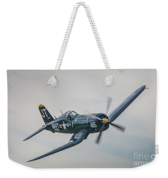 Weekender Tote Bag featuring the photograph Corsair Approach by Tom Claud