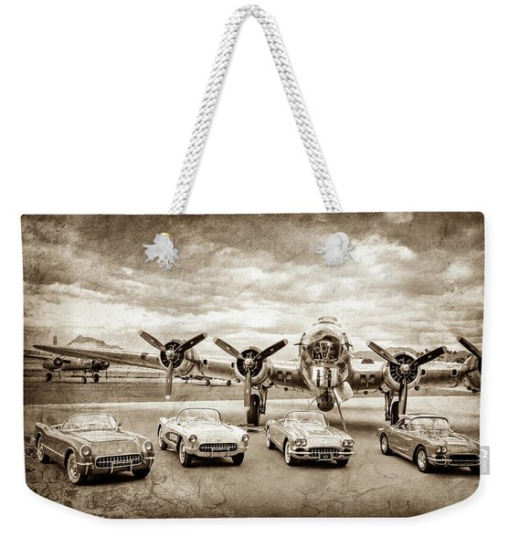 Corvettes And B17 Bomber -0027cl2 Weekender Tote Bag