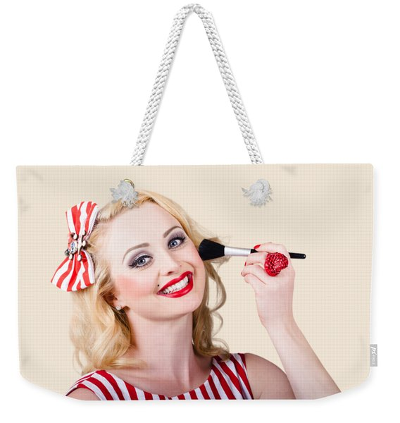 Cosmetics Pin-up Model Applying Blusher Makeup Weekender Tote Bag