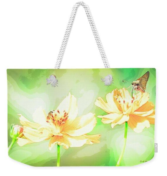 Cosmos Flowers, Bud, Butterfly, Digital Painting Weekender Tote Bag