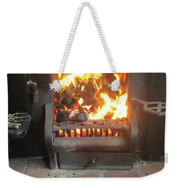 Cosy Winter Fire Weekender Tote Bag