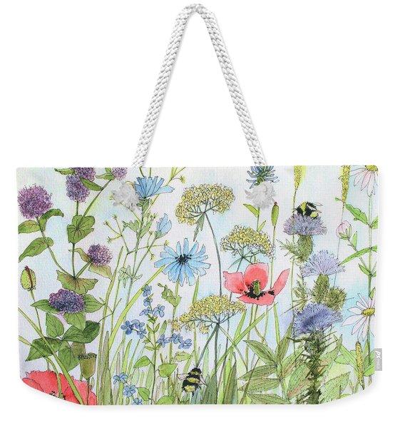 Cottage Flowers And Bees Weekender Tote Bag