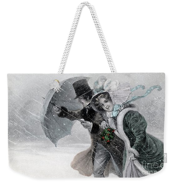 Couple In A Snow Storm With Umbrella Weekender Tote Bag