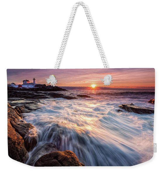 Weekender Tote Bag featuring the photograph Crashing Waves At Sunrise, Nubble Light.  by Jeff Sinon