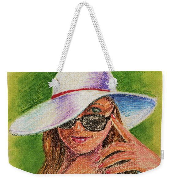 Craving Summer Woman With A Hat Weekender Tote Bag