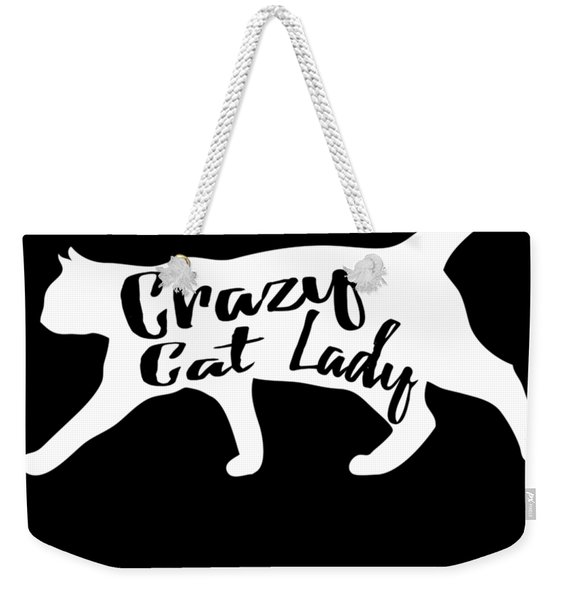 Weekender Tote Bag featuring the digital art Crazy Cat Lady by Flippin Sweet Gear