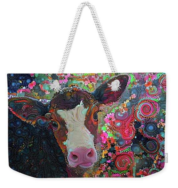 Crazy Colorful Cow Weekender Tote Bag